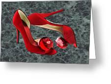 Rock Me Red Pom Poms Greeting Card