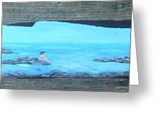 Rock Painting-nude Woman At Ocean Greeting Card