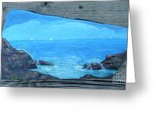 Rock Painting-ocean Sailboats Greeting Card