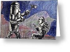 Rocket Man And Robot Greeting Card