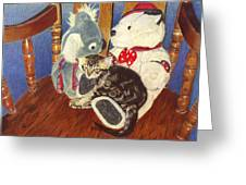 Rocking With Friends - Kitten And Stuffed Animals Painting Greeting Card