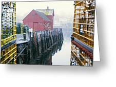 Rockport Harbor And Cages Greeting Card