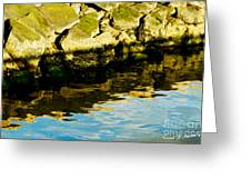 Rocks And Reflections On Ocean Greeting Card