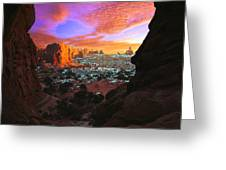 Rocky Buttes Viewed Through Canyon Greeting Card