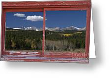 Rocky Mountain Autumn Red Rustic Picture Window Frame Photos Art Greeting Card
