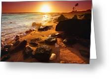 Rocky Shoreline In Hawaii Greeting Card
