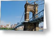Roebling Bridge To Cincinnati Greeting Card