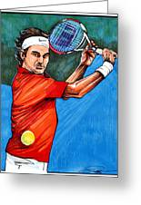 Roger Federer Greeting Card by Dave Olsen