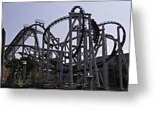 Roller Coaster Rides Inside The Universal Studio Park In Sentosa Greeting Card