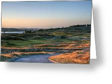 Rolling Green And Gold - Chambers Bay Golf Course Greeting Card