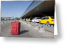 Rolling Luggage Outside An Airport Terminal Greeting Card