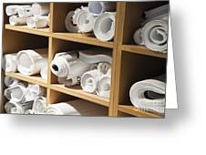 Rolls Of Blueprints In Cubbyholes Greeting Card