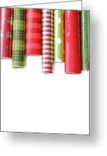 Rolls Of Colored Wrapping  Paper On White3 Greeting Card