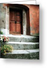 Roman Door And Steps Rome Italy Greeting Card