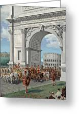Roman Soldiers Lead Chained Captives Greeting Card