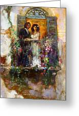 Romance In Venice  Fragment Balcony Greeting Card
