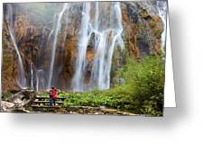 Romantic Scenery By The Waterfall Greeting Card