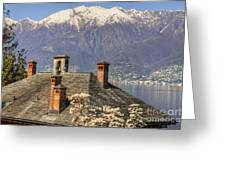 Roof With Chimney And Snow-capped Mountain Greeting Card