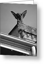Rooftop Chained Gargoyle Statue Above French Quarter New Orleans Black And White Greeting Card