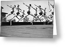 Rooftop Dancers In New York Greeting Card