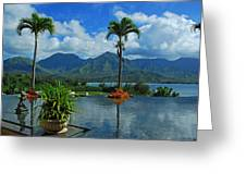 Rooftop Fountain In Paradise Greeting Card