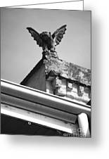Rooftop Gargoyle Statue Above French Quarter New Orleans Black And White Diffuse Glow Digital Art Greeting Card by Shawn O'Brien