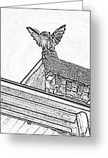 Rooftop Gargoyle Statue Above French Quarter New Orleans Black And White Photocopy Digital Art Greeting Card