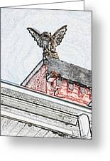 Rooftop Gargoyle Statue Above French Quarter New Orleans Colored Pencil Digital Art Greeting Card
