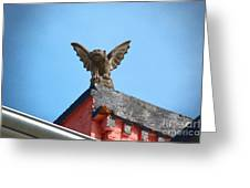 Rooftop Gargoyle Statue Above French Quarter New Orleans Film Grain Digital Art Greeting Card