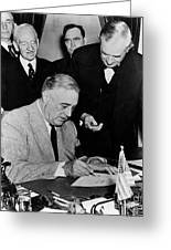 Roosevelt Signing Declaration Of War Greeting Card