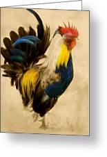 Rooster On The Prowl 2 - Vintage Tonal Greeting Card