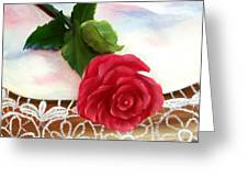 Rose And Lace Greeting Card by Joni McPherson