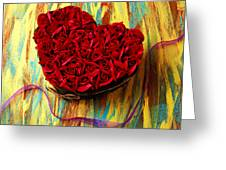 Rose Heart And Ribbon Greeting Card by Garry Gay