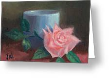 Rose With Blue Cup Greeting Card