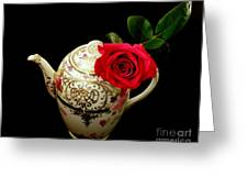 Rose With China Teapot Greeting Card