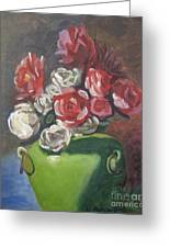 Roses And Green Vase Greeting Card by Lilibeth Andre