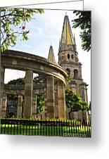 Rotunda Of Illustrious Jalisciences And Guadalajara Cathedral Greeting Card