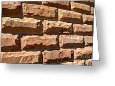 Rough Hewn Sandstone Brick Wall Of A Historic Building Greeting Card