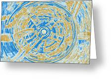 Round And Round Blue And Gold Greeting Card