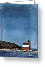 Round Island Lighthouse In Michigan Greeting Card