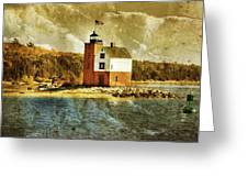 Round Island Lighthouse Greeting Card