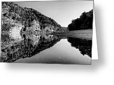 Round The Bend Buffalo River In Black And White Greeting Card