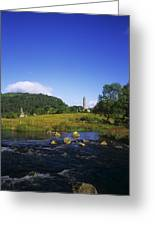 Round Tower And River In The Forest Greeting Card