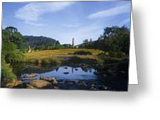 Round Tower In The Forest Glendalough Greeting Card