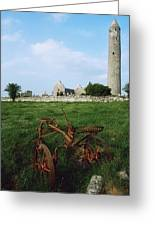Round Tower, Kilmacduagh Near Gort, Co Greeting Card