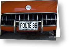 Route 66 Corvette Grill Greeting Card