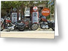 Route 66 Gas Pumps Greeting Card