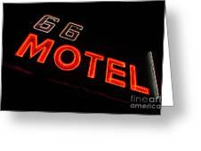 Route 66 Motel Neon Greeting Card
