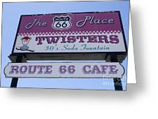Route 66 Twisters Sign Greeting Card