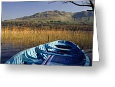 Row Boat Amongst Reeds On A Lake Greeting Card